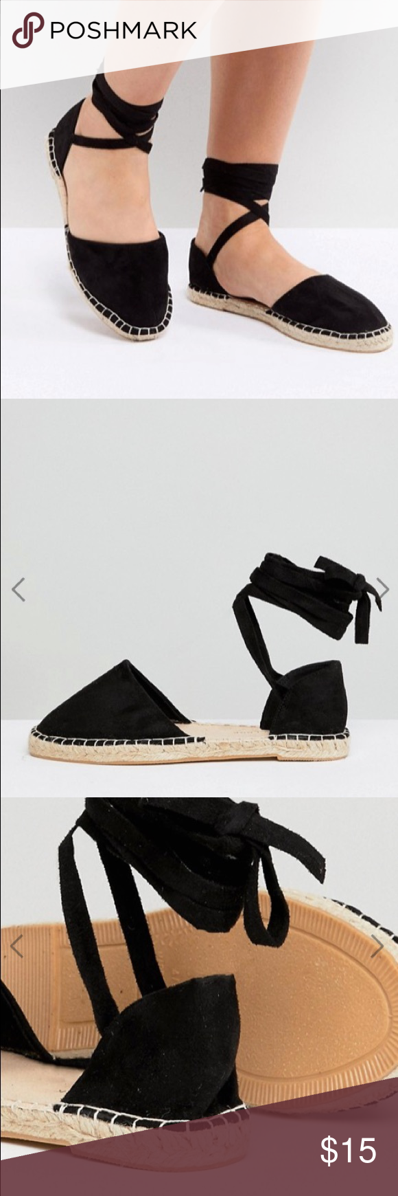 3e28304ab4d4 NWT Wide Fit Ankle Tie Flat Espadrille 10W - ASOS Never worn and still in  the bag these cute black espadrilles are a size 10 WIDE ASOS Shoes  Espadrilles