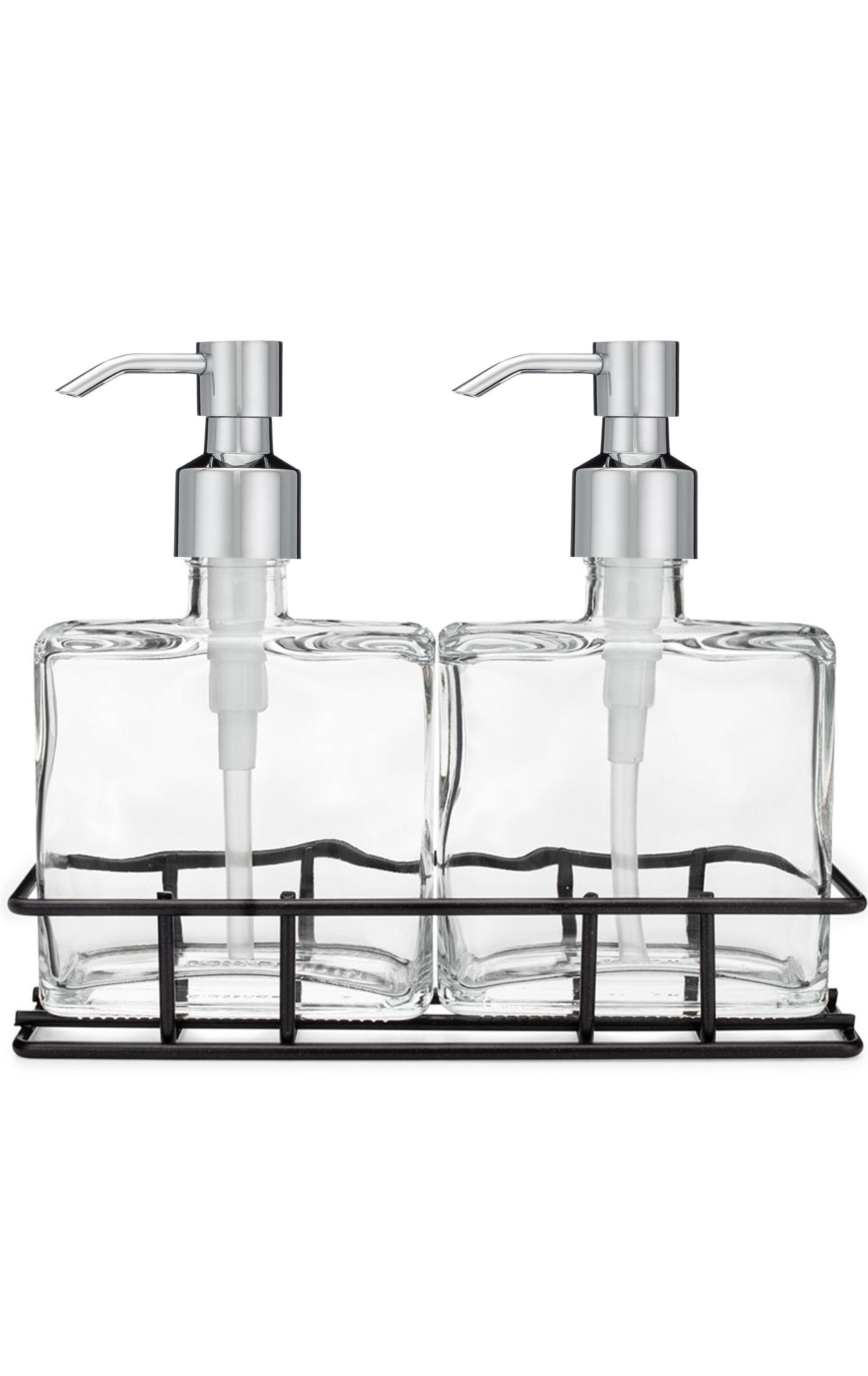 Urban Pair Glass Soap Lotion Dispenser Set W Metal Stand Foam Soap Dispenser Lotion Dispenser Kitchen Soap Dispenser