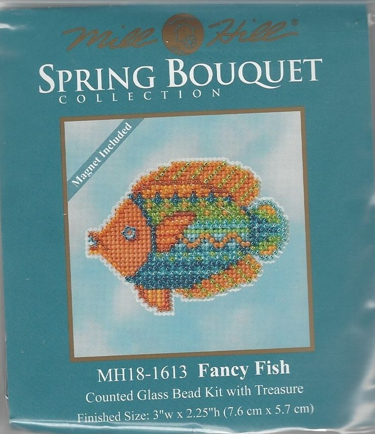 Fancy Fish Beaded Counted Cross Stitch Ornament Kit Mill Hill 2016 Spring Bouquet MH181613