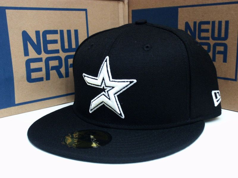 39ecb822680 Houston Astros Baseball Cap New Era Hat 5950 Fitted MLB Black White 59Fifty