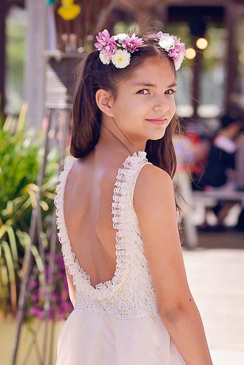 Gold flower girl tulle dress boho junior bridesmaid etsy