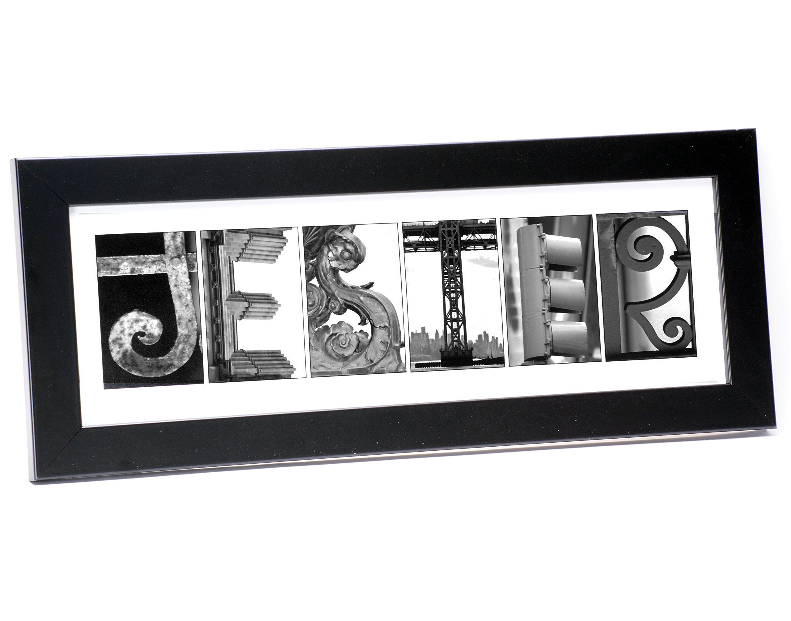 Creative Letter Art Personalized Sign Black And White Architecture
