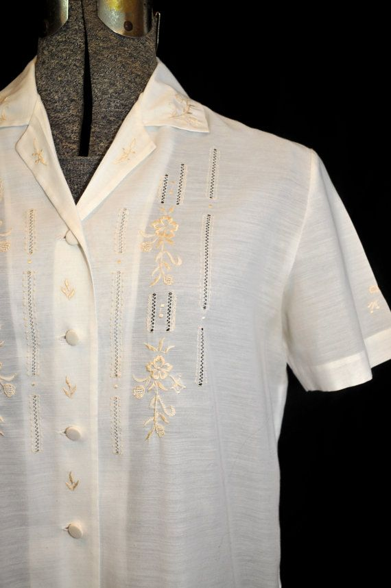 Vintage 1960's Blouse Shirt Top / Hand by CicelysCloset on Etsy