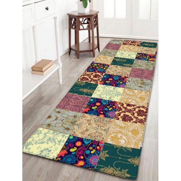 Plant Plaid Pattern Flannel Bathroom Rug Thick Winchlinch - Thick bathroom rugs for bathroom decorating ideas
