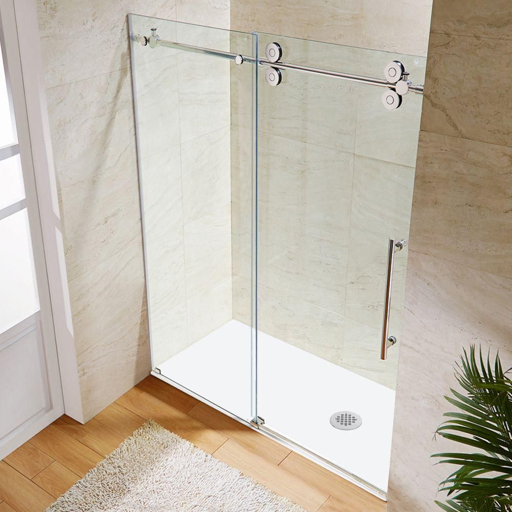 Vigo 60 in x 74 in frameless bypass shower door in stainless steel with clear glass vg6041stcl6074 the home depot