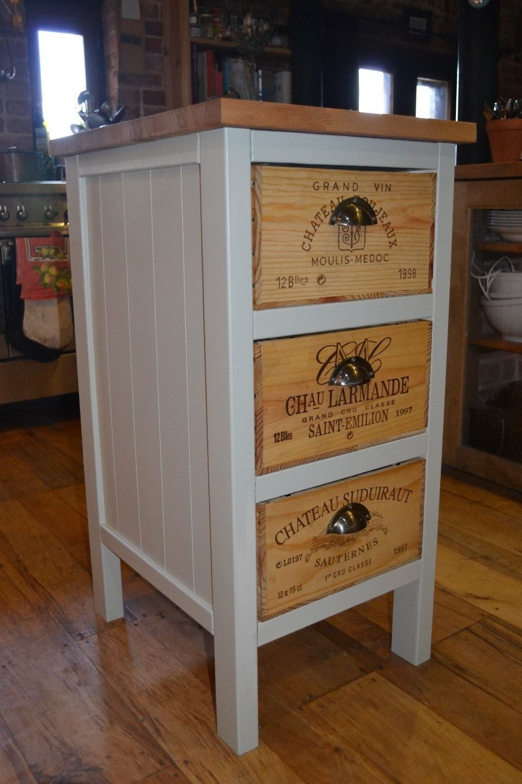 Recycled wine box chest of drawers solid wood