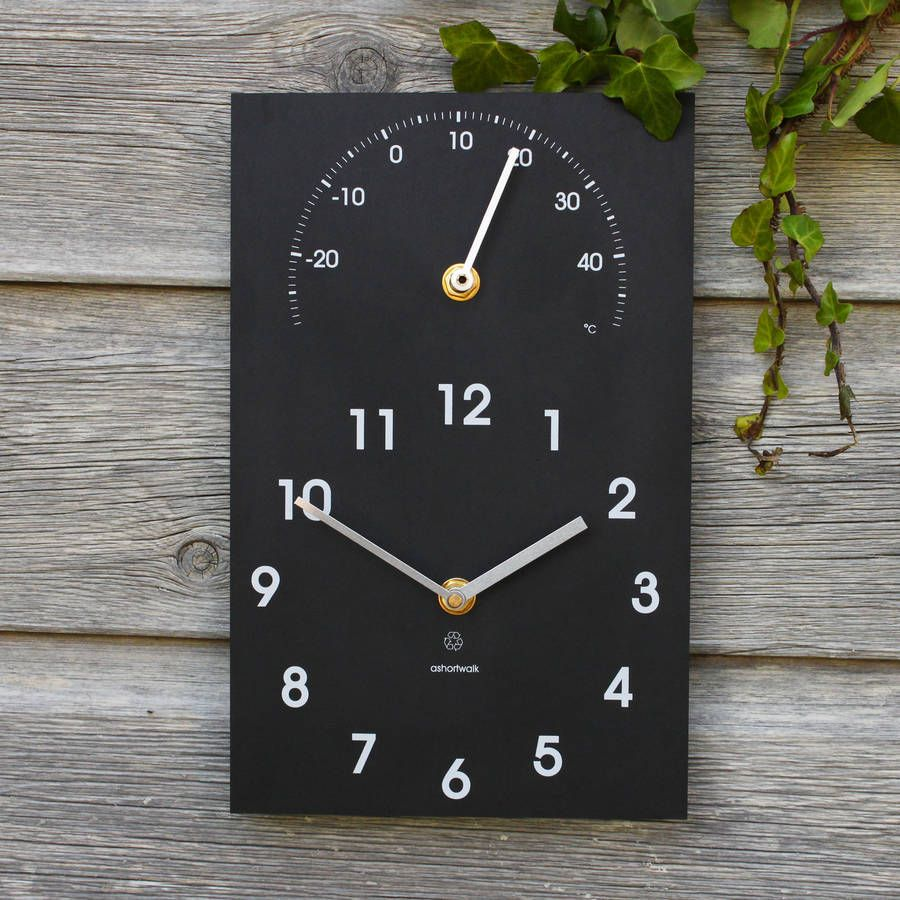 eco recycled outdoor clock and thermometer - Outdoor Clock Thermometer