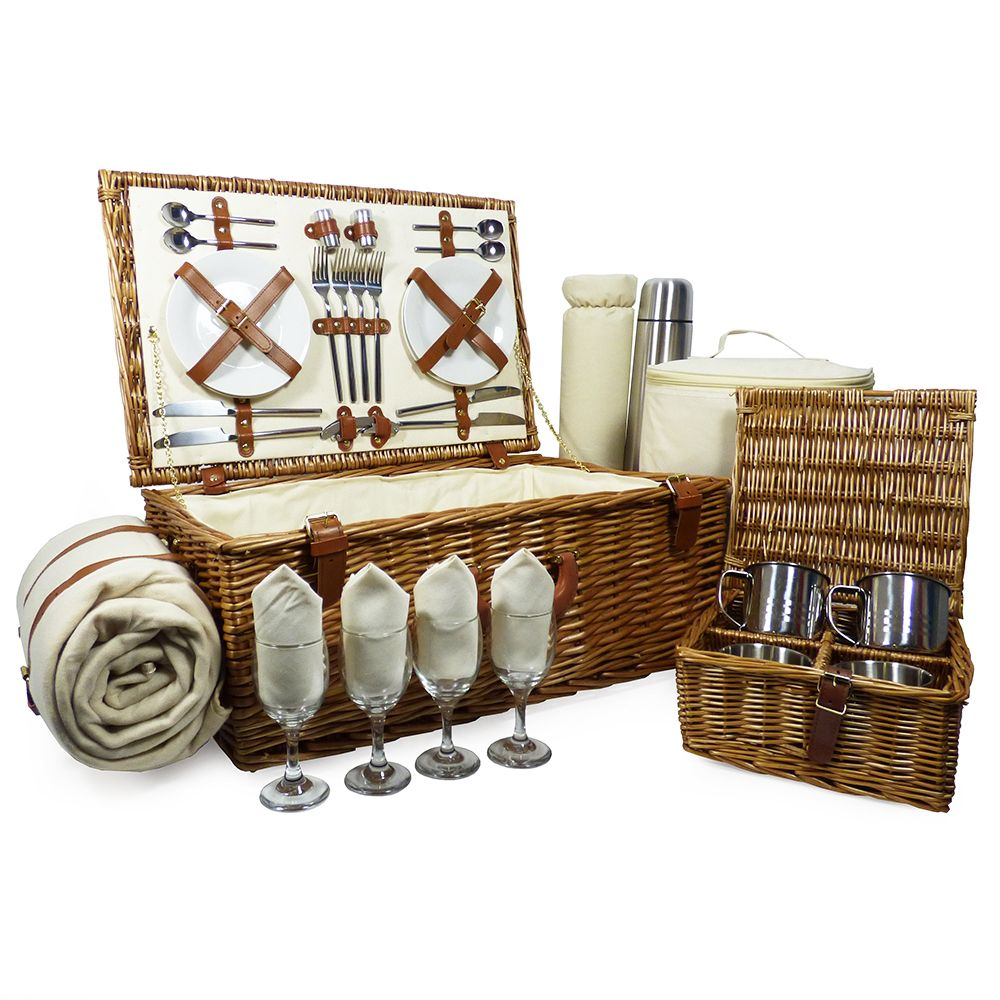 A stylish 4 person picnic hamper made from superior
