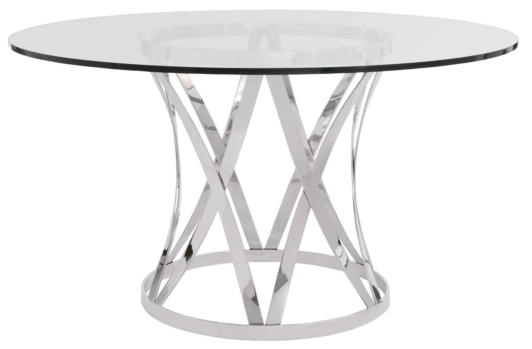 Contemporary Glass Top Round Dining Table With Chrome Polished Unique Base Leg In Mode Glass Round Dining Table Metal Round Dining Table Glass Top Dining Table