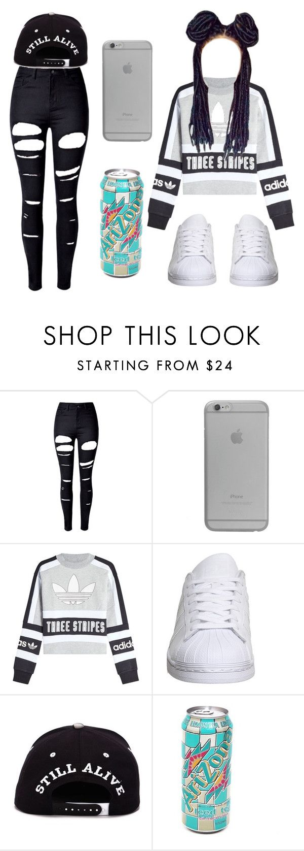 """""""😋✨"""" by airenikole ❤ liked on Polyvore featuring WithChic, Native Union, adidas Originals and adidas"""