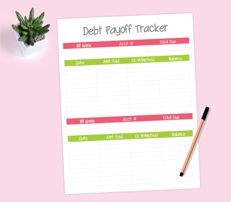 Debt Payoff Tracker Printable Worksheet Pink Amp Green