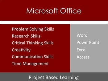 Microsoft Office Problem Based Learning Pbl Projects 1 20 Ms Office Projects Used In My Class Project Based Learning Word Skills Critical Thinking Skills