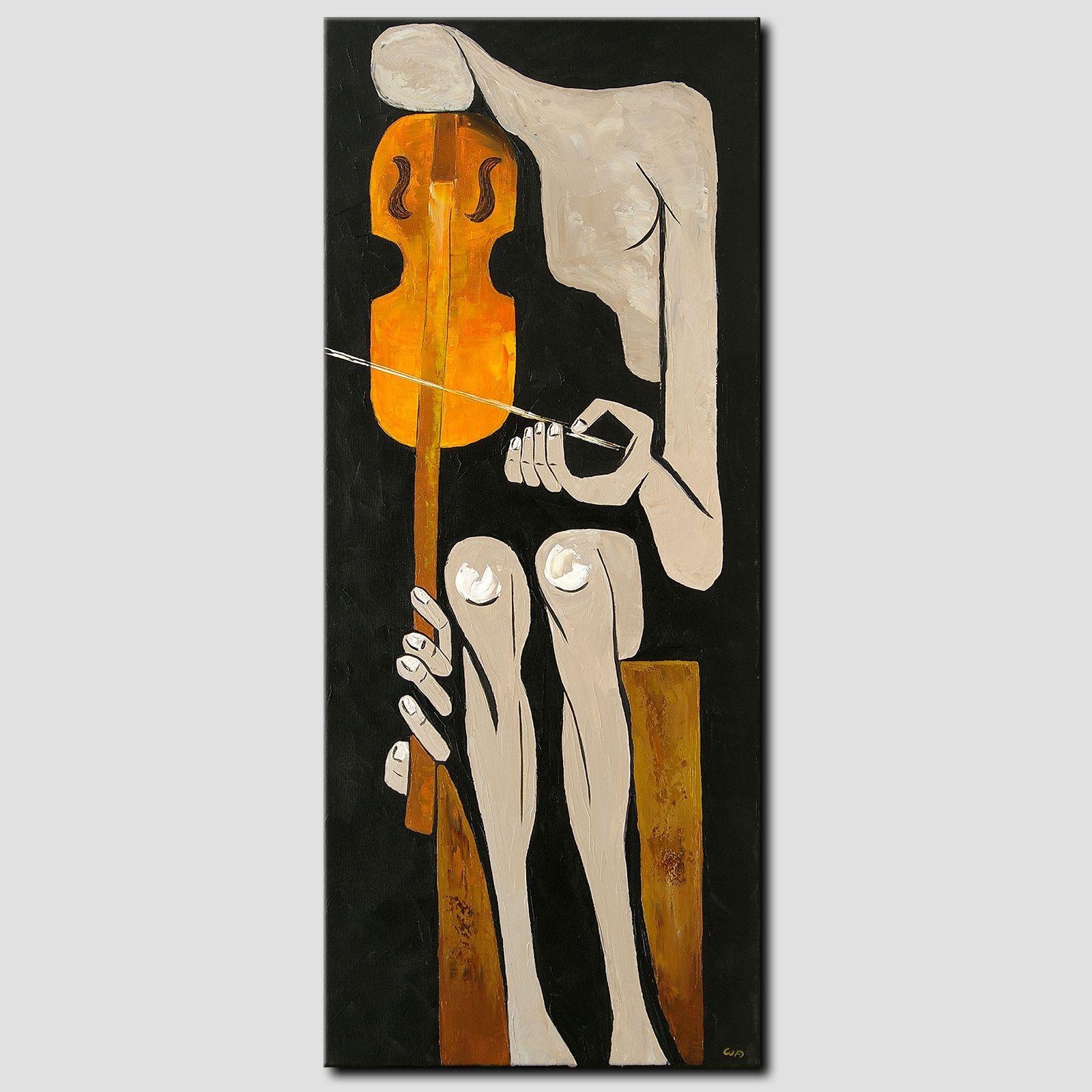 Novaarte Gemälde Acryl Kunst Malerei Original Bild Abstrakt Mann Geige Musiker Art Modern Handgemalt Acryl Kunst Gemälde Acryl Dekorative Gemälde