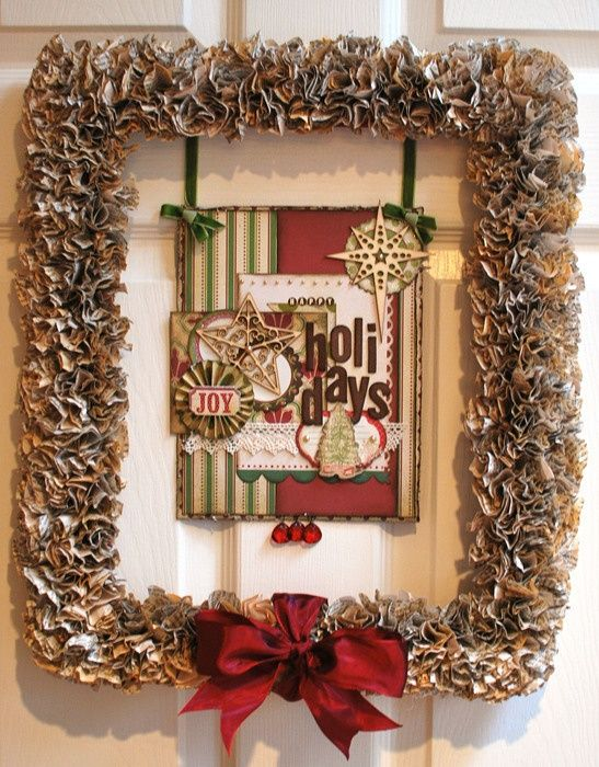 CHRISTMAS BOOK PAGE FRAME WREATH CHRISTMAS - WREATHS, SWAGS  DOOR