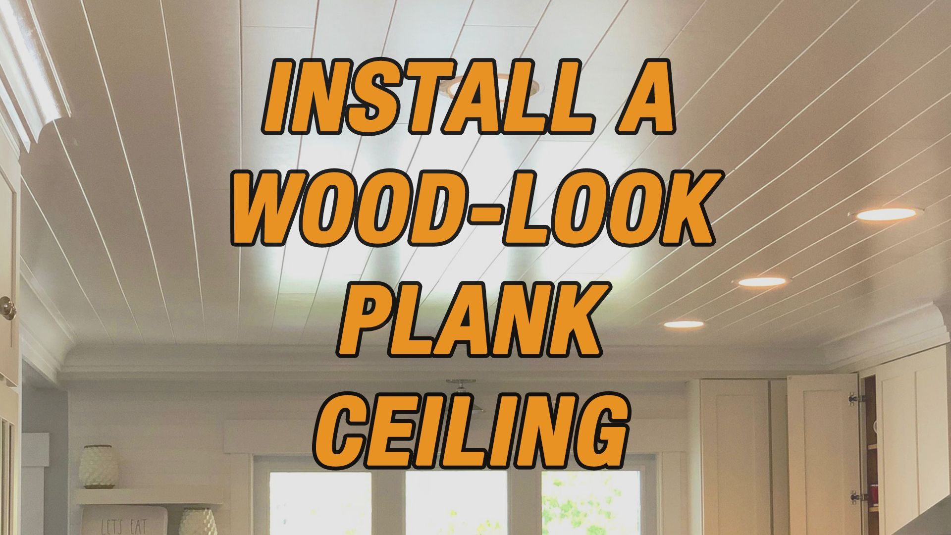 How To Install A Wood Look Plank Ceiling Plank Ceiling Floating Ceiling Diy Ceiling