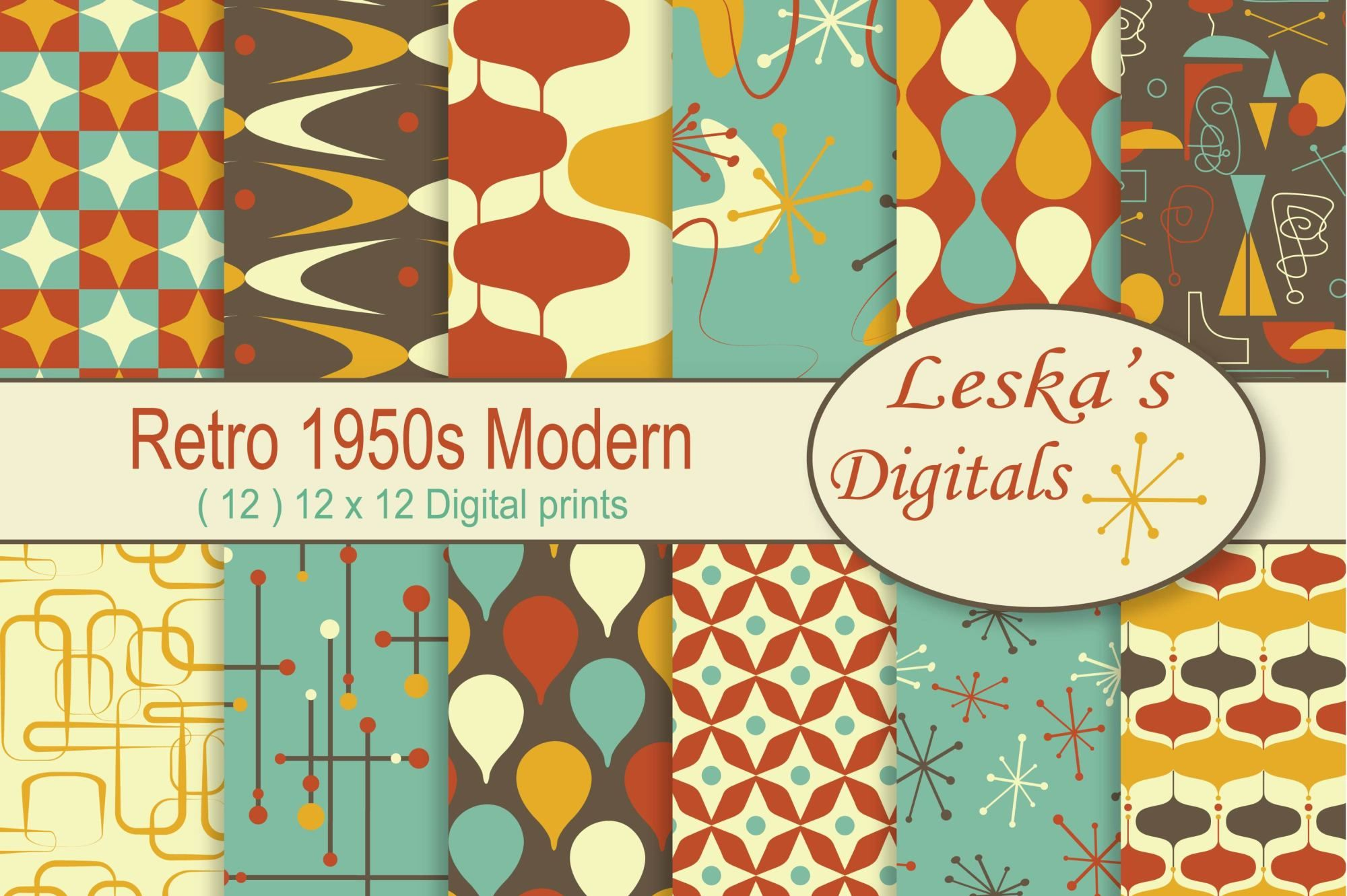 1950S Retro Digital Paper Pack  Retro - Design Bundles
