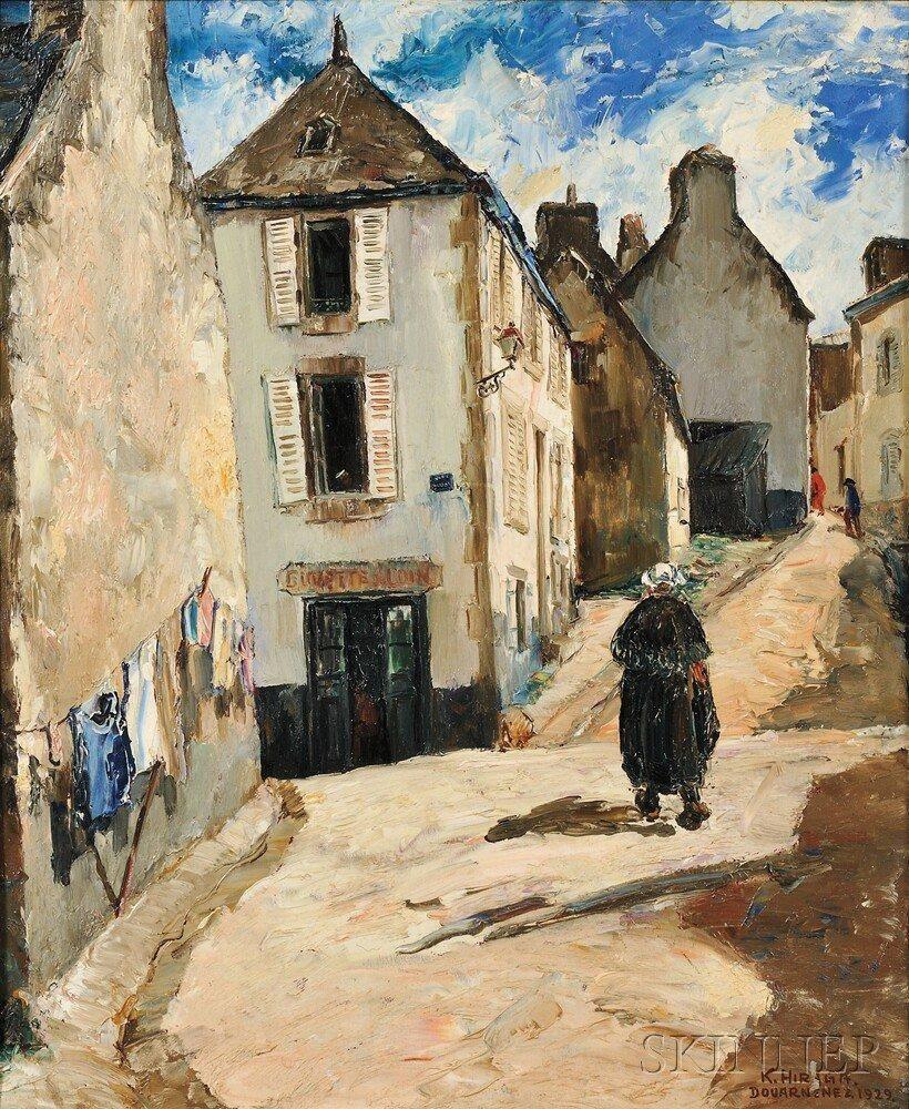 "Kamezuge Hiraga 1889-1971, Japanese, ""A street in Douarnenez"""
