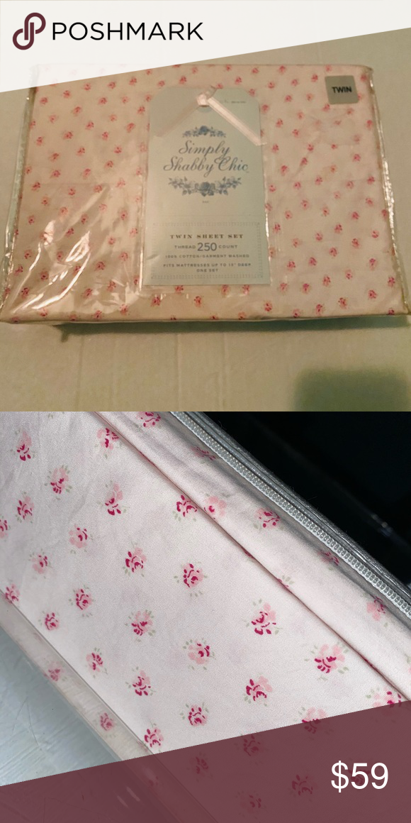 Simply Shabby Chic Twin Flower Sheet Set NWT Never opened Twin set Flat sheet Fitted sheet Pillowcase Little flower pattern Pale pink Fits up to Simply Shabby Chic Twin F...