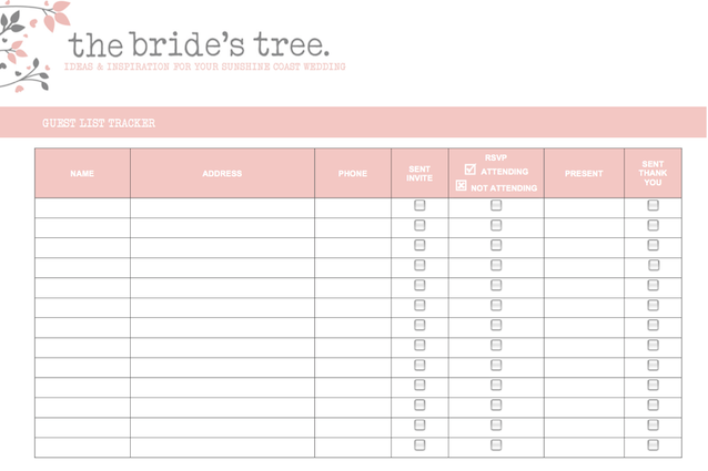 Printable Wedding Guest List Planner Invitation Sample