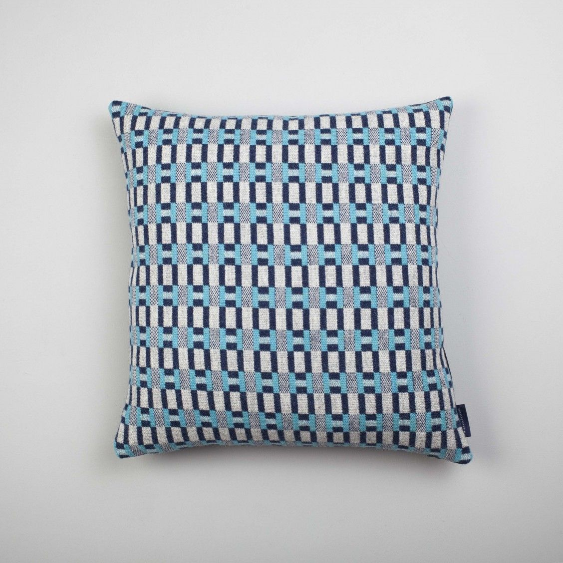 Our graphic Paperchain Cushion in the 'Sea' colour way. Woven & handmade in Scotland using the finest Lambswool. www.heather-shields.co.uk   Photography - Susan Castillo