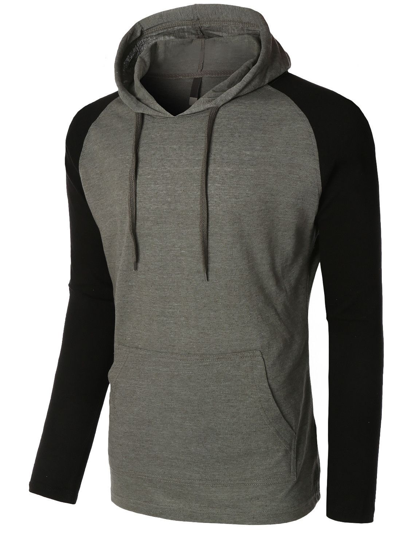 Mens Lightweight Color Block Raglan Pullover Hoodie Shirt   The ... b705febd5ae0