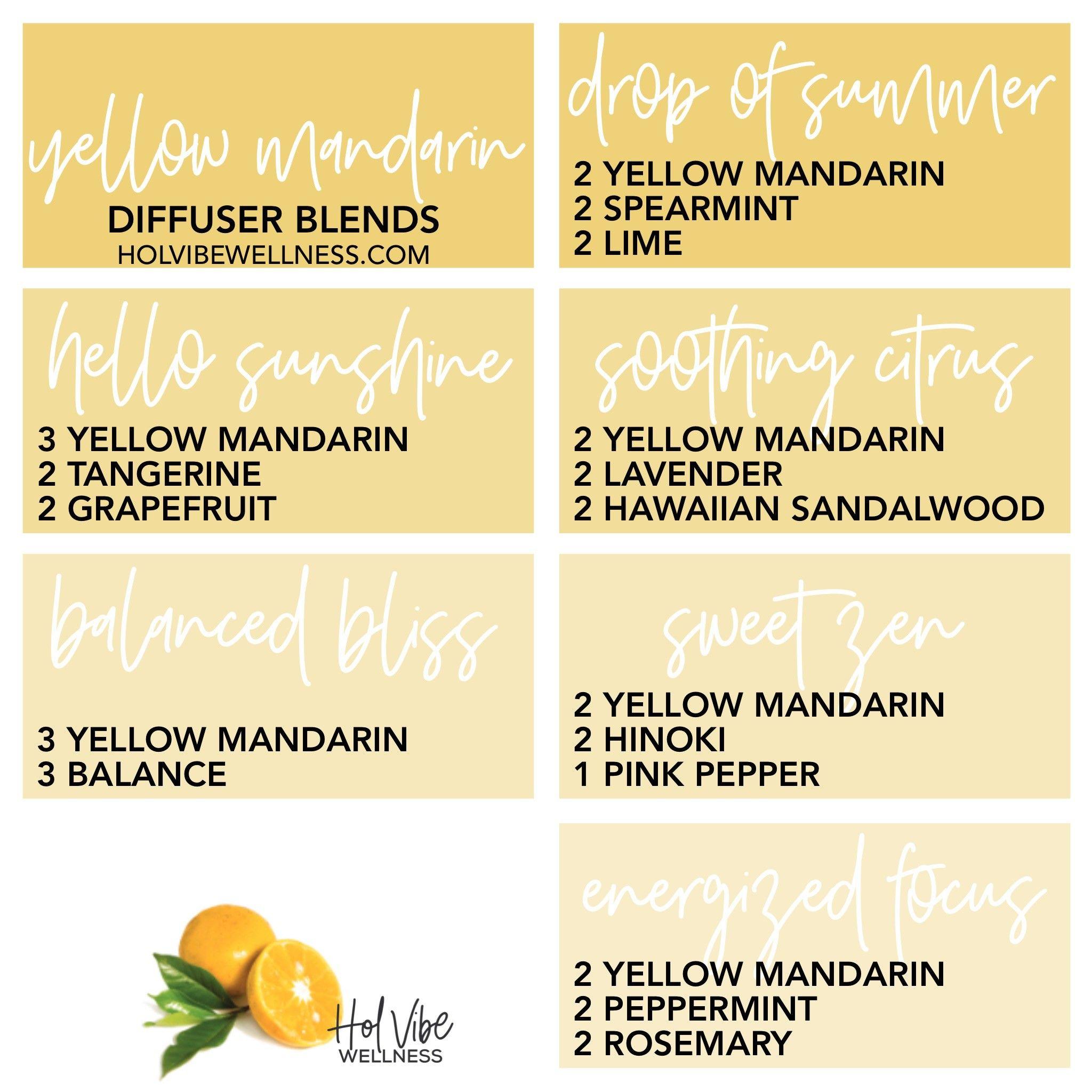 Yellow Mandarin Diffuser Blends Essential Oils Rosemary Essential Oil Diffuser Recipes Tangerine Essential Oil