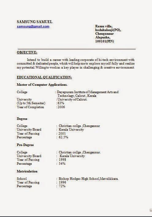 good format for resume Sample Template Example of ExcellentCV - resume sample doc