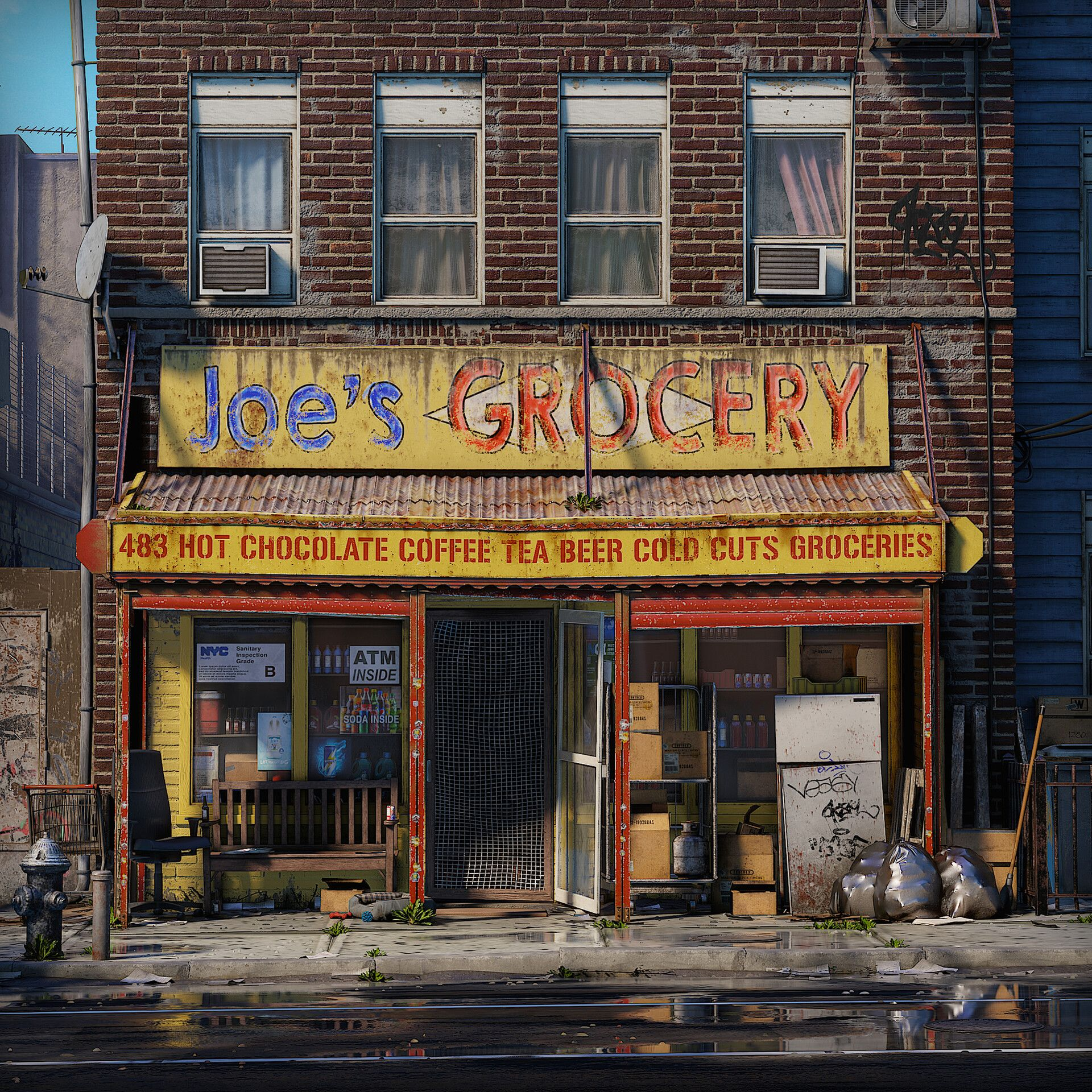 Brooklyn Grocery Store By Maarten Hofafter I Came Back From A Trip To New York I Felt Super Inspired By The Little Vintage Storefront City Architecture Grocery