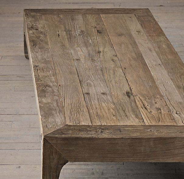 Reclaimed elm coffee table for keeping room restoration hardware 695 on sale presidents day Restoration coffee tables