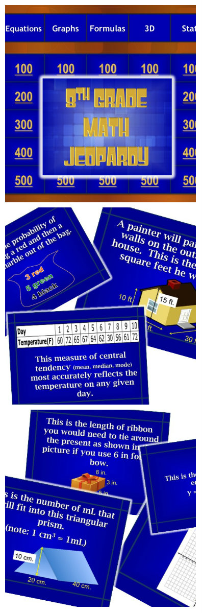 8th Grade Math Standardized Test Prep Jeopardy® Game Test - sample jeopardy powerpoint