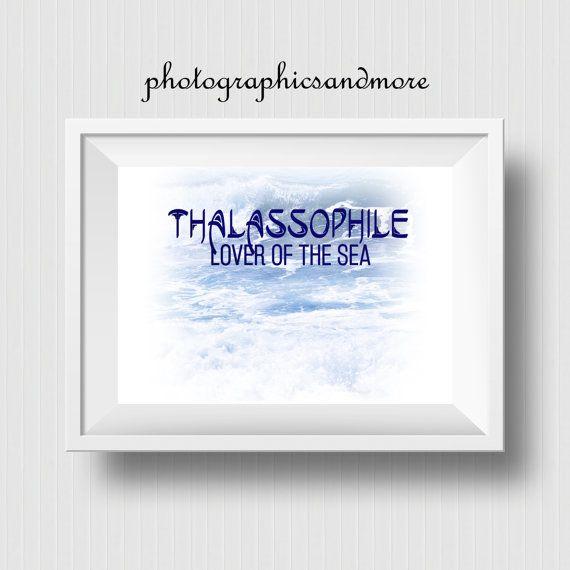 Thalassophile, Lover, Sea, Minimilistic Wall Art, Digital Download, Printable, Ocean Printable, Waves, Surf, Blue, White, Beach Decor, JPG