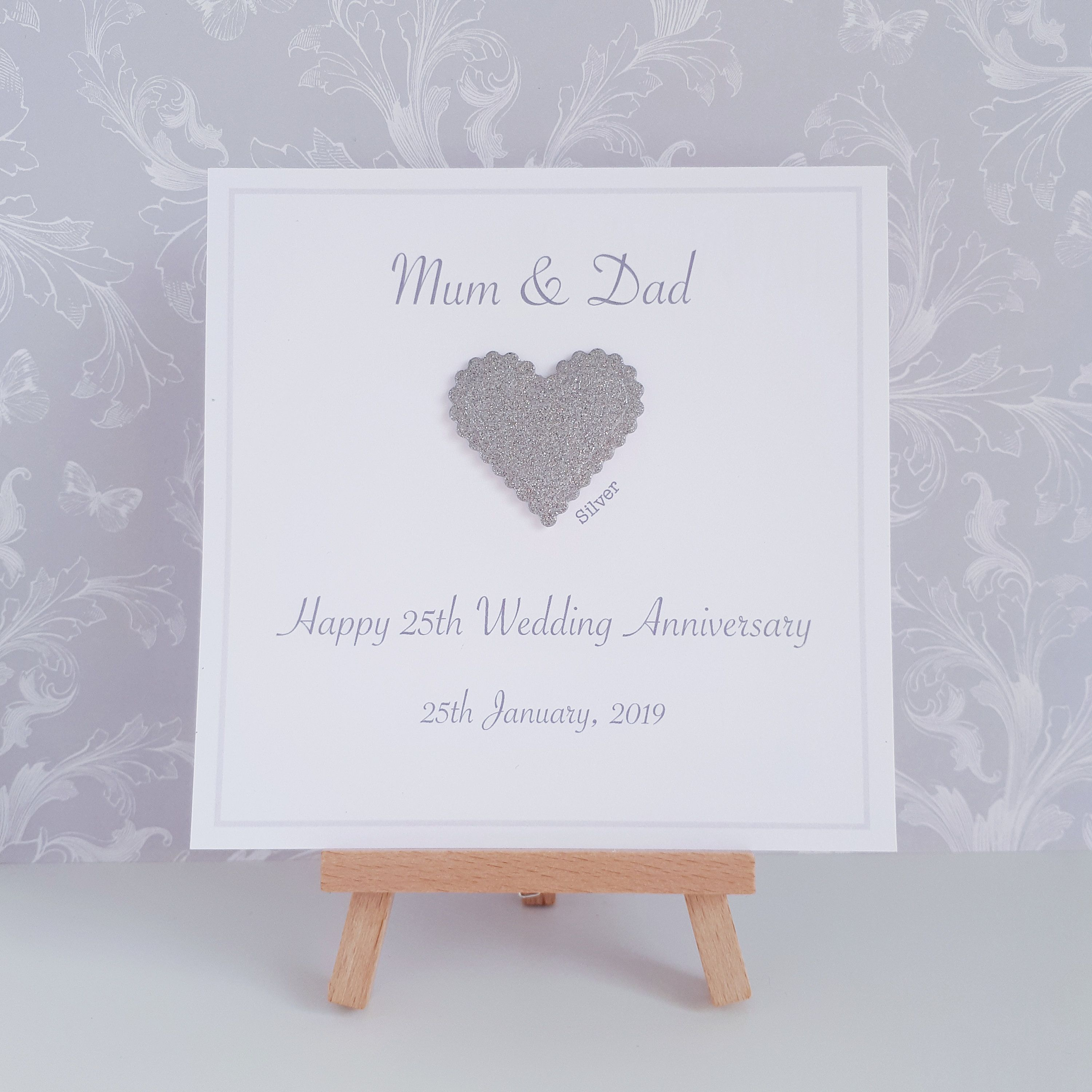 Handmade Personalised Silver 25th Wedding Anniversary Card For Parents Grand Anniversary Cards Handmade Anniversary Card For Parents Wedding Anniversary Cards