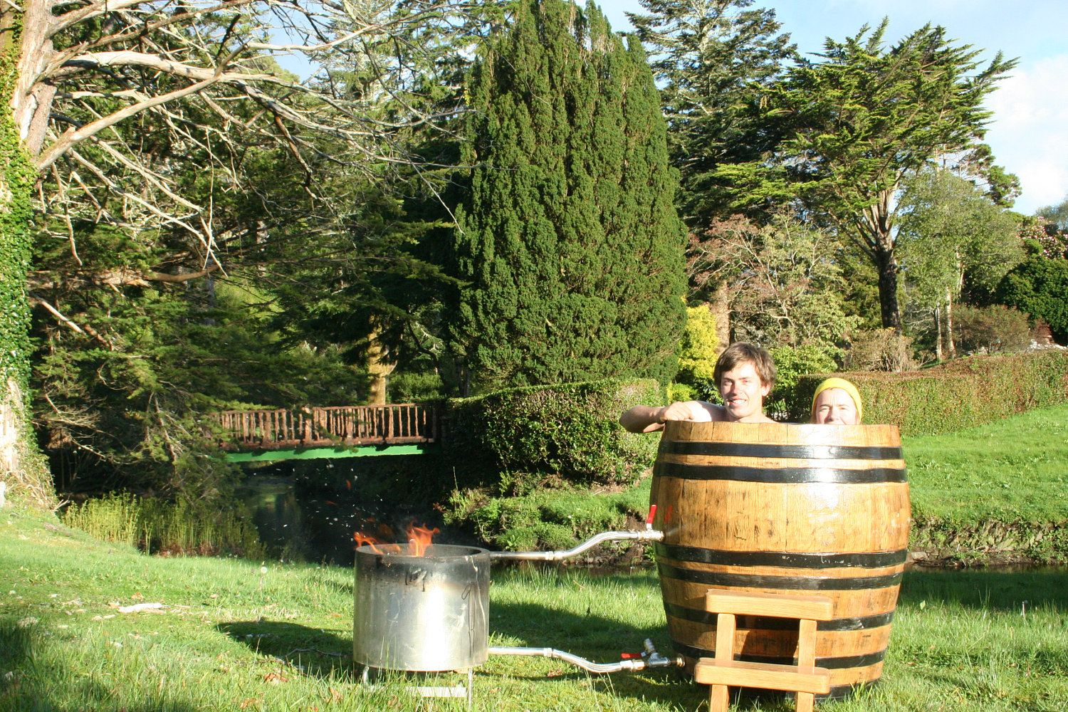 Wood Fired Whiskey Barrel Hot Tub 3 500 00 Via Etsy Whisky