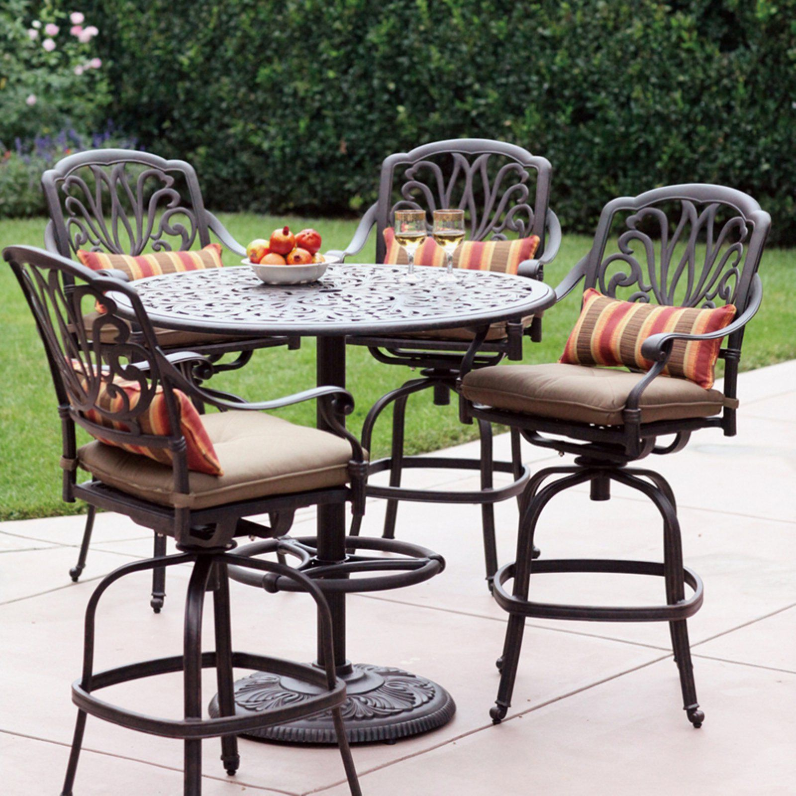 Outdoor Darlee Elizabeth 5 Piece Floral Aluminum Bar Height Patio Dining Set Outdoor Patio Bar Patio Furniture Sets Bar Height Patio Furniture