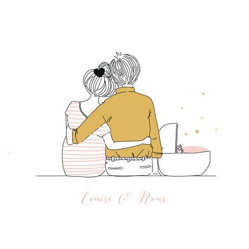 Faire-part de naissance Lovely family (triptyque) - Rosemood