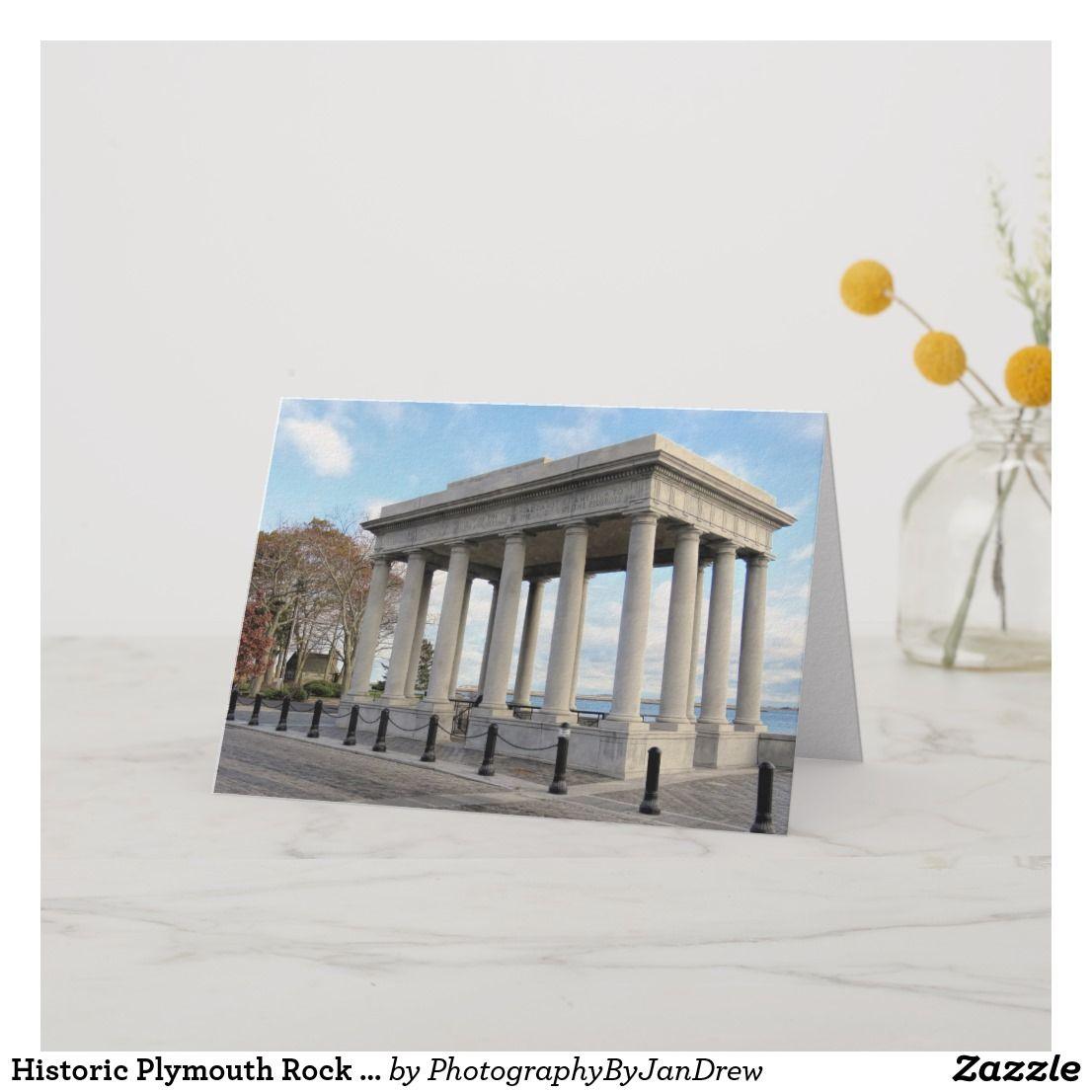 Historic Plymouth Rock canopy Card   Zazzle.com in 2019 ...