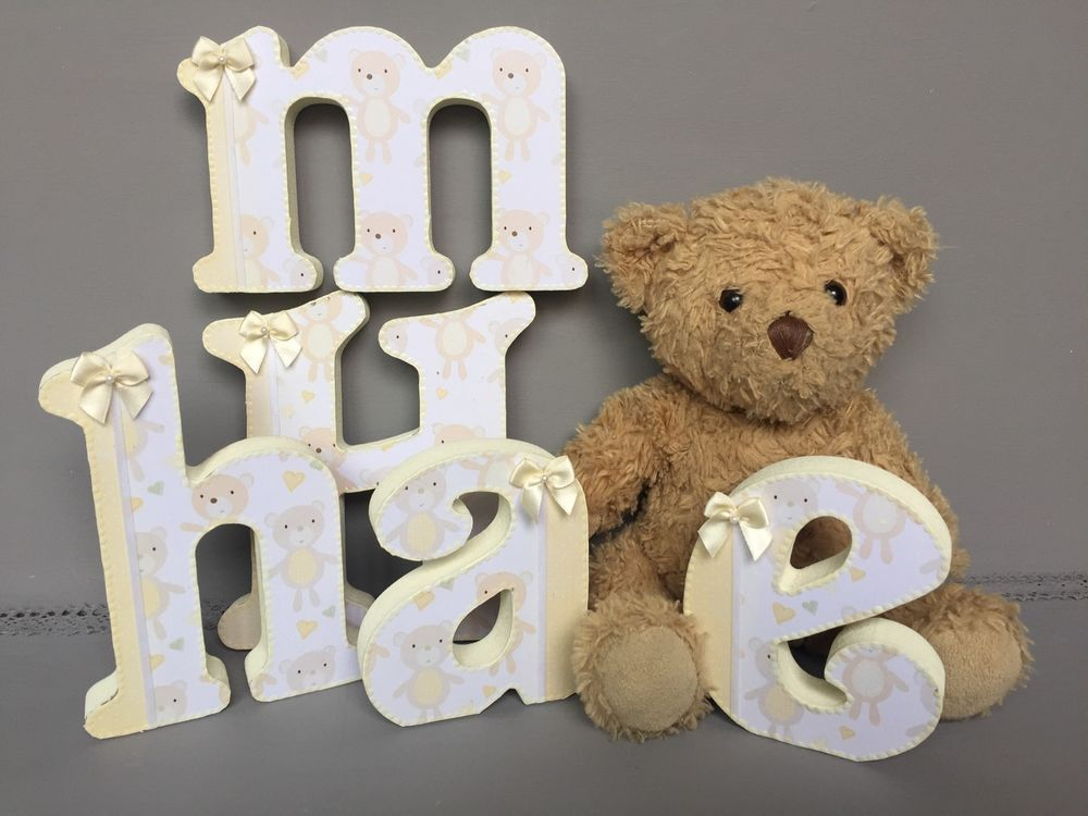 Free Standing Yellow White Teddy Wooden Letters Baby Girl Nursery