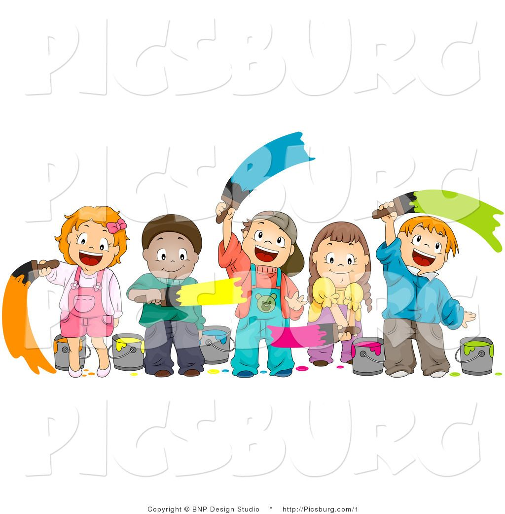Clip Art Of A Happy Group Of Diverse Kids Painting With