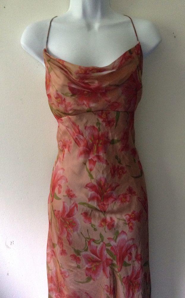 Watters&Watters Vtg Sz 10 Floral 100% silk Cowl Neck Spaghetti Strap Maxie Dress