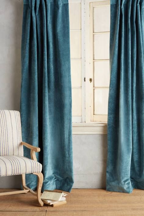 Anthropologie S New Arrivals Velvet Curtains Blue