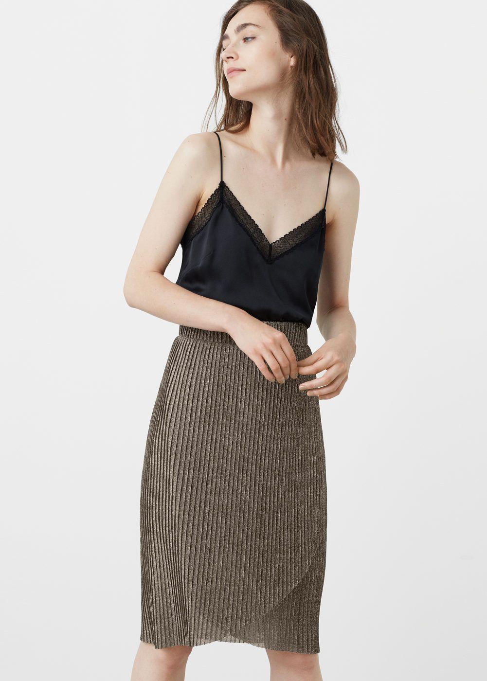 Jupe plissée métallisée - Jupes pour Femme   MANGO France caea69773159
