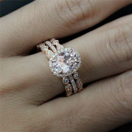 oval engagement rings with wedding band Google Search wedding