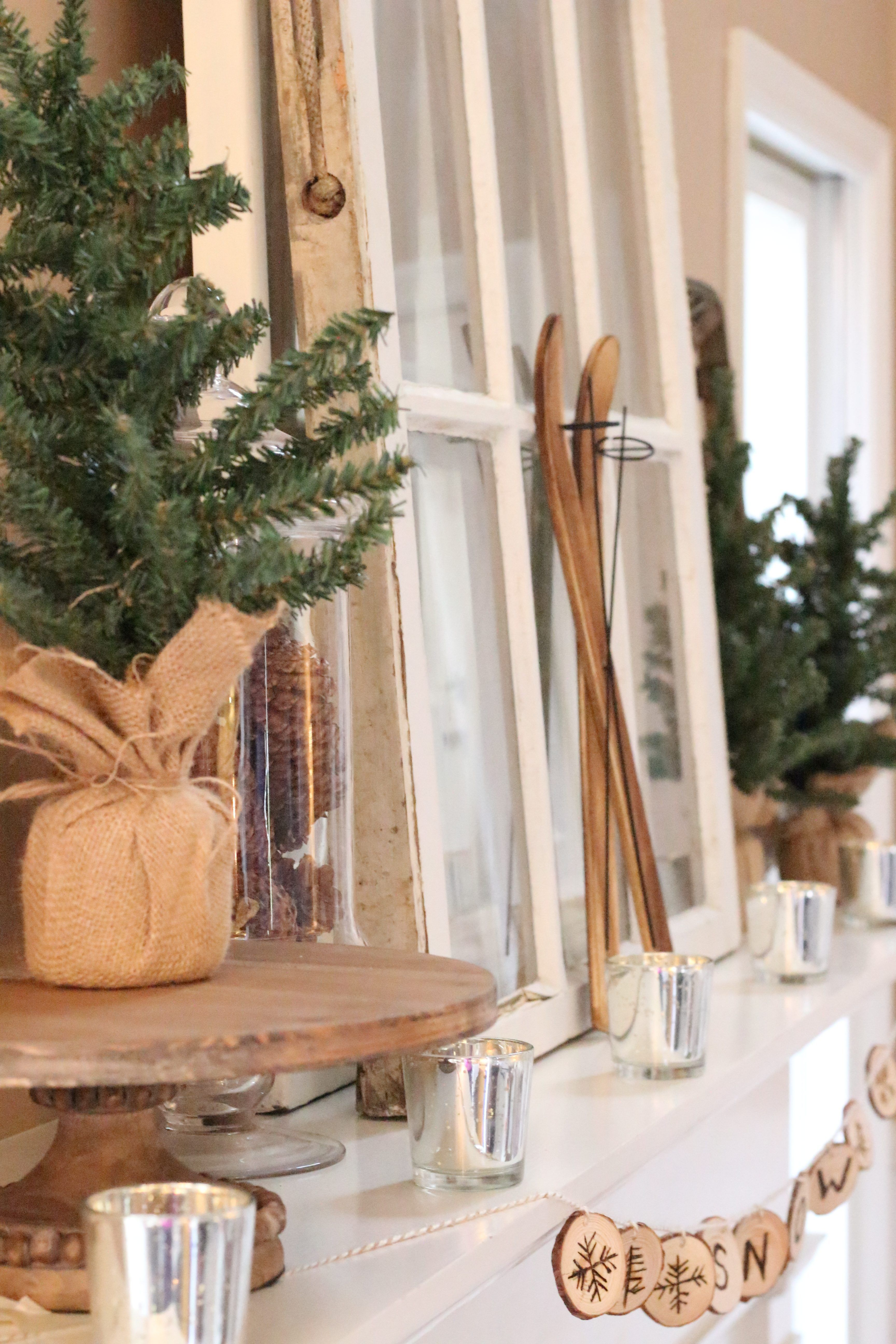 Decorating Your Winter Mantel For The Season. Adding Greenery, Mercury  Glass, And Rustic