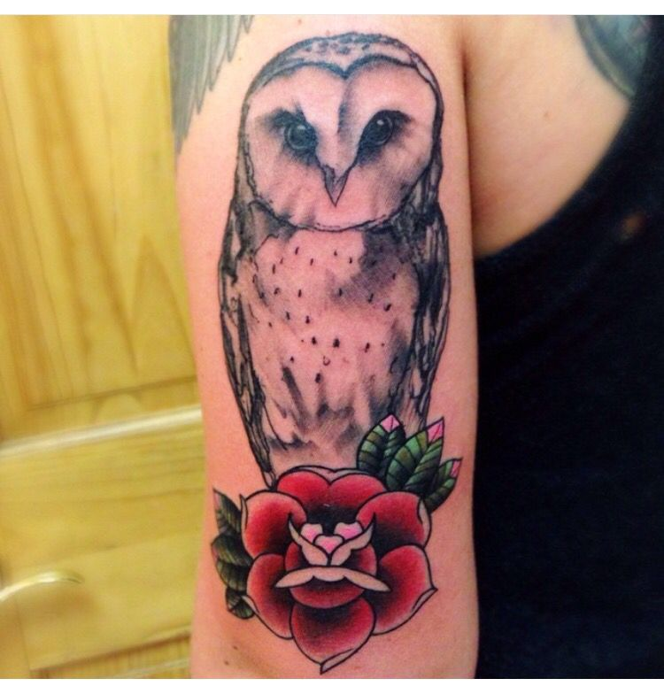 Sketched barn owl with traditional rose by Ericksen Linn