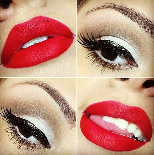 Kiss Makeup Designs: Red Lips And Black Eyeliner