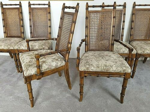 6 Vtg American Of Martinsville Asian Style Faux Bamboo Cane Back Dining Chairs Ebay Oak Dining Chairs Faux Bamboo Dining Chairs