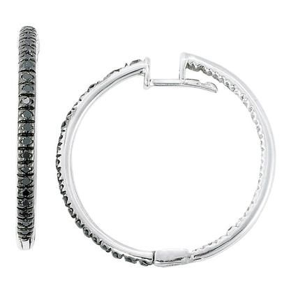 Ctw Black And White Diamond Hoop Earrings