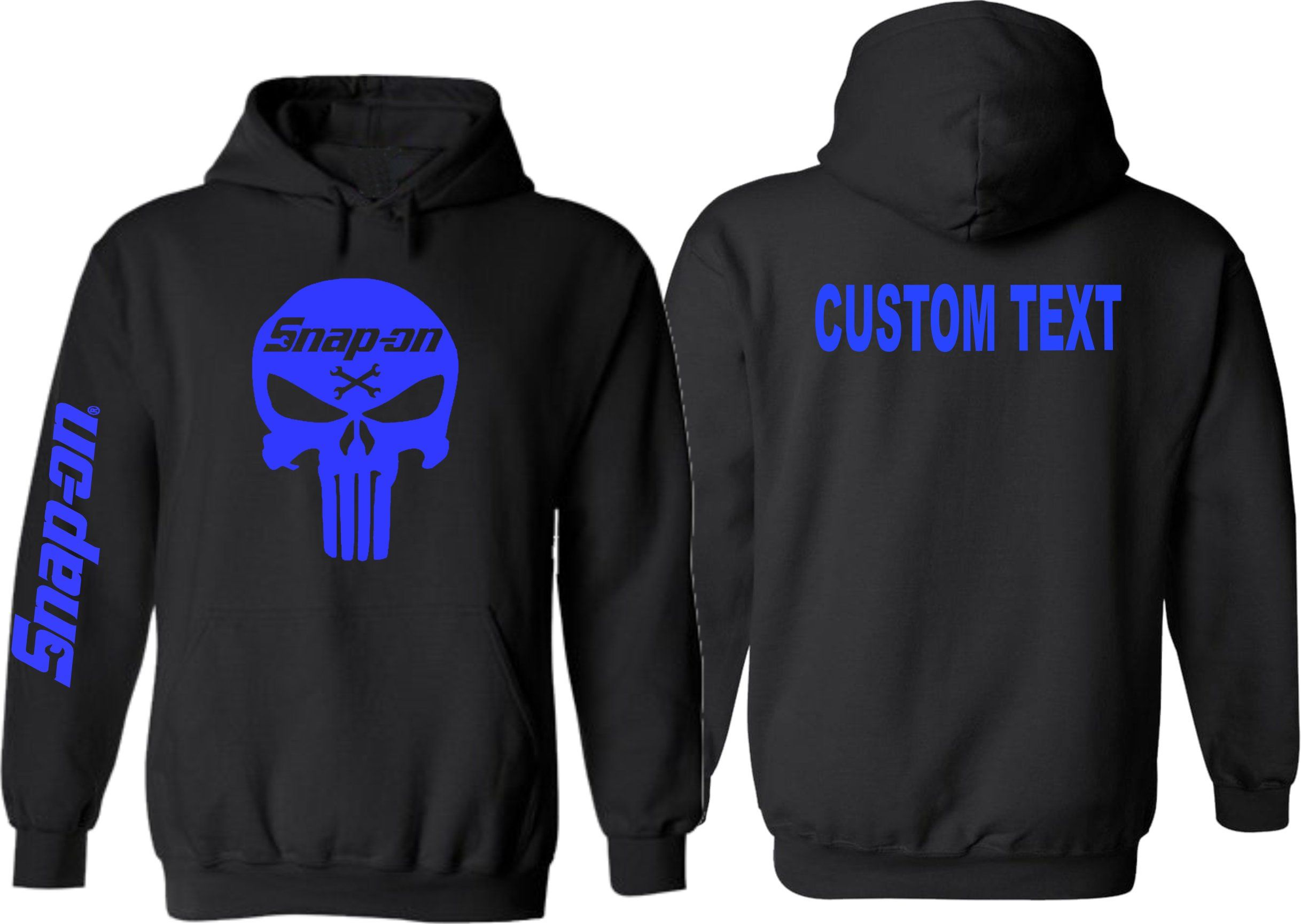4d76101e Snap On Skull and Cross Bones Punisher Hoodie BLUE PRINT Gildan Custom Made  Add Personalized Text by LettuceDressyou on Etsy