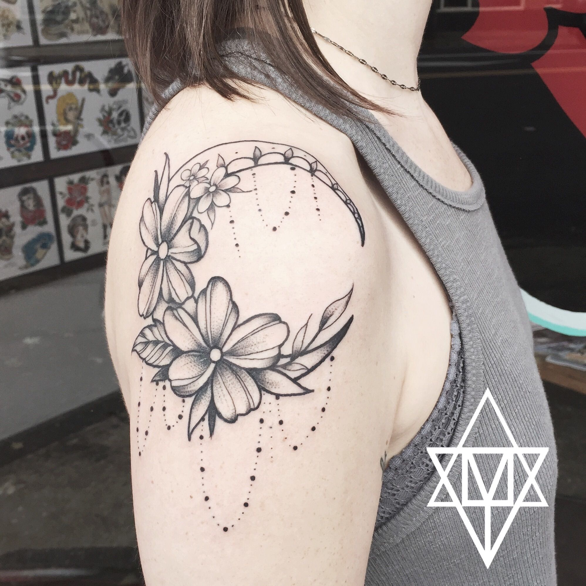 Stipple Moon Tattoo With Flowers