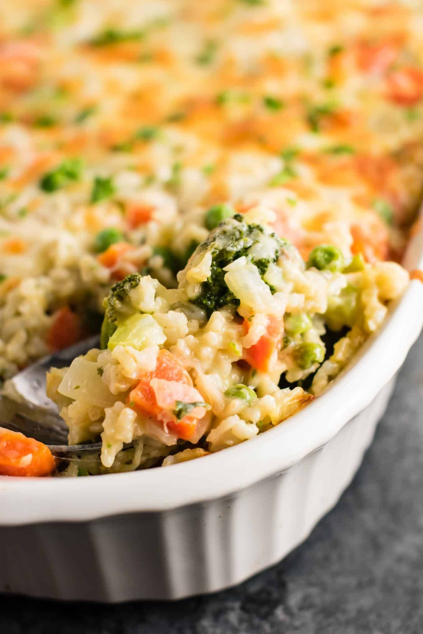 Cheesy delicious rice and vegetable casserole recipe made